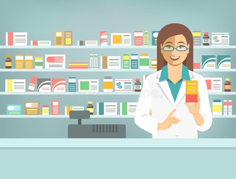 Mujer del farmacéutico con la medicina en el contador en farmacia ilustración del vector