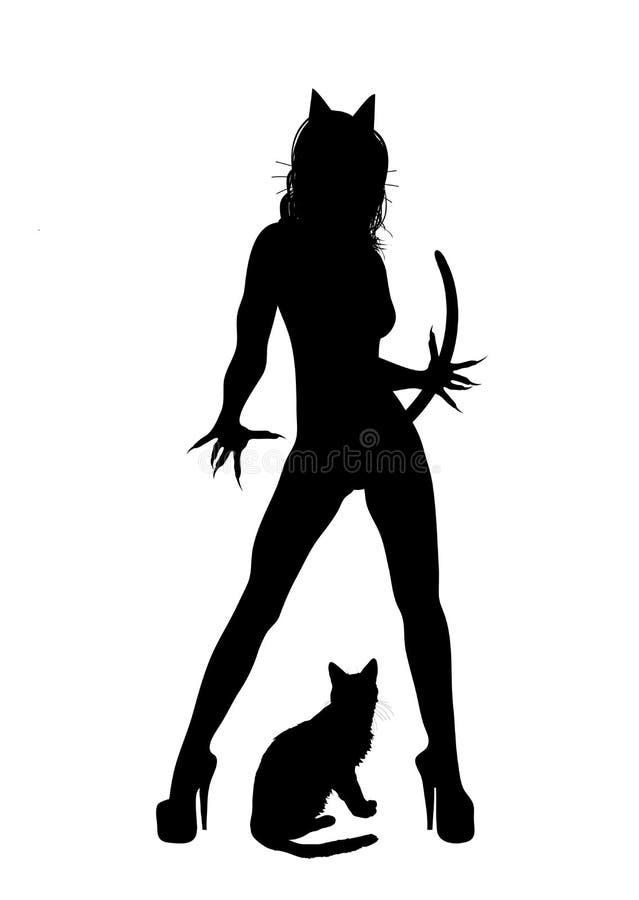 Mujer del gato ilustración del vector