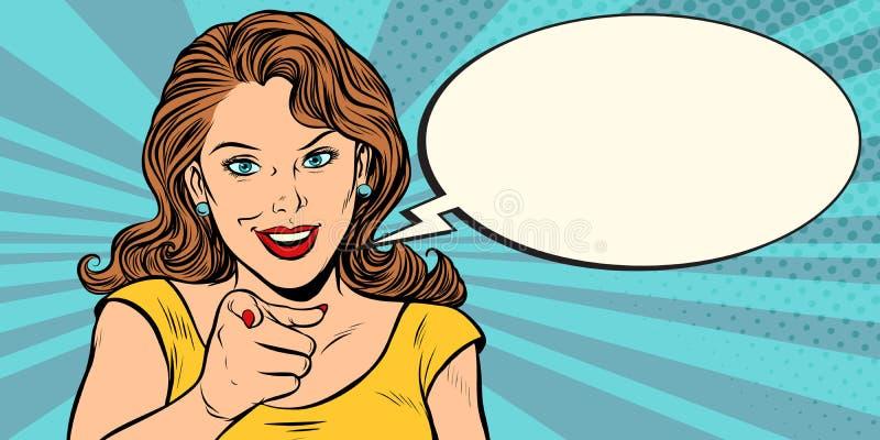 Mujer del gesto que señala el finger en usted stock de ilustración