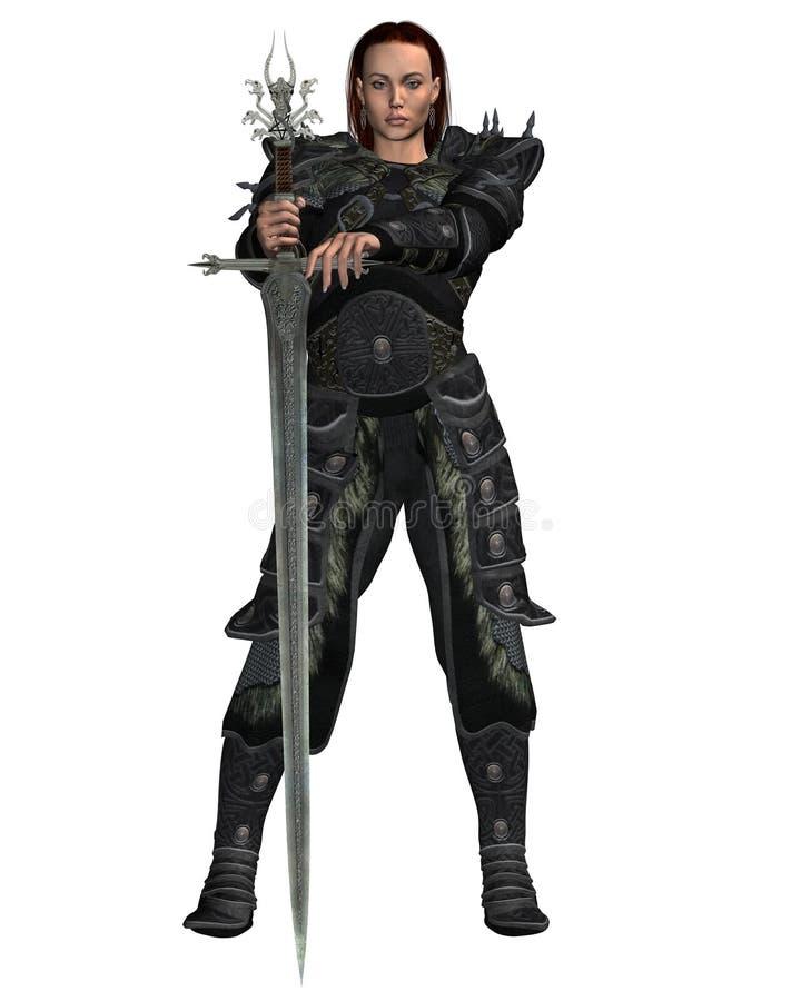 Mujer del guerrero stock de ilustración