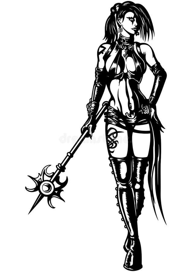 Mujer del guerrero del mago con una vara mágica libre illustration