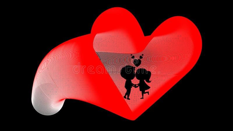Mujer del hombre del corazón del cartel de la boda ilustración del vector