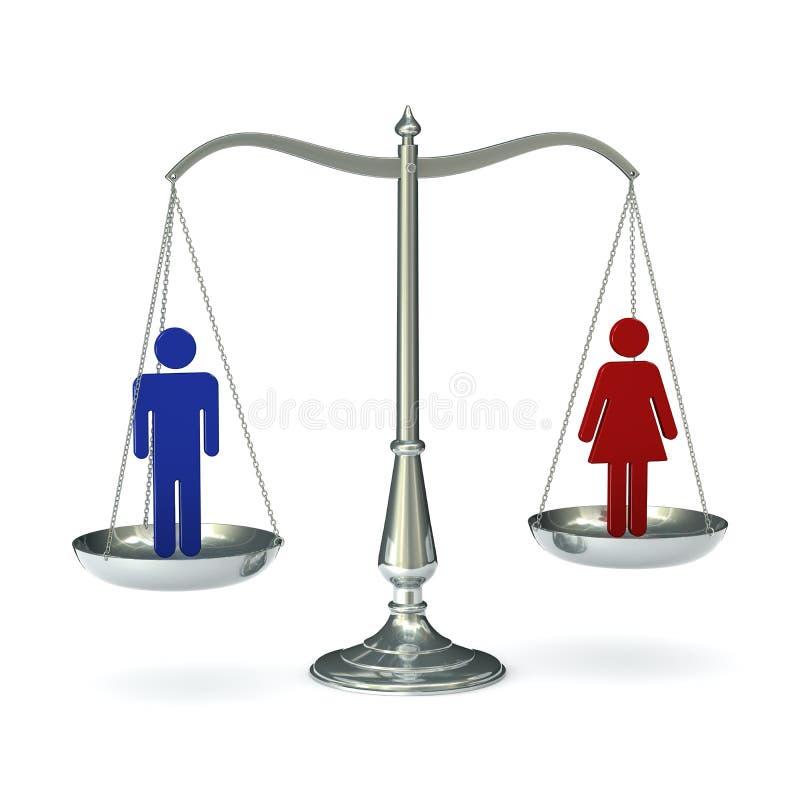 Mujer del hombre de las escalas stock de ilustración