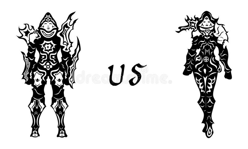 Mujer del hombre del cazador del demonio stock de ilustración