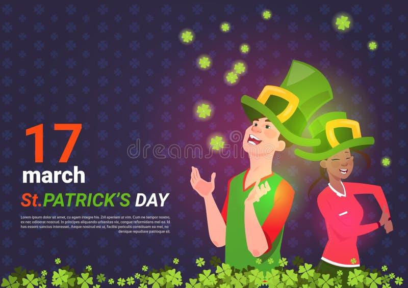 Mujer del hombre y del afroamericano en sombreros verdes del duende sobre el santo Patrick Day Template Poster Background stock de ilustración