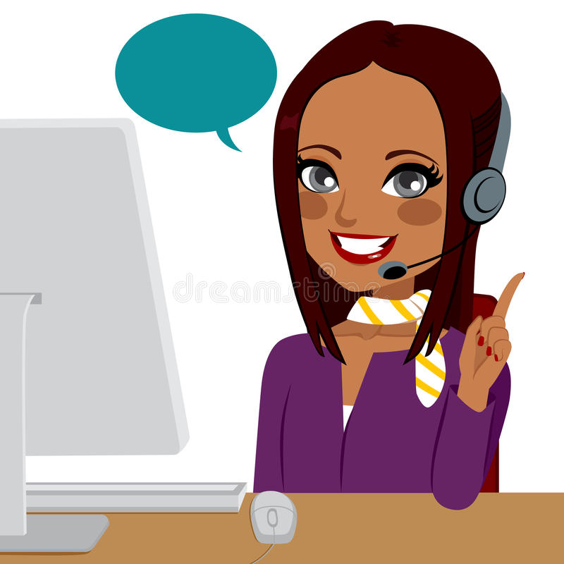 Mujer del indio del centro de atención telefónica ilustración del vector