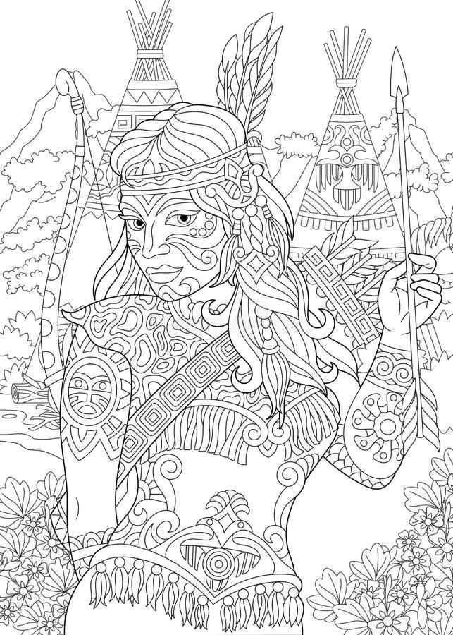 Mujer del indio del nativo americano de Zentangle stock de ilustración