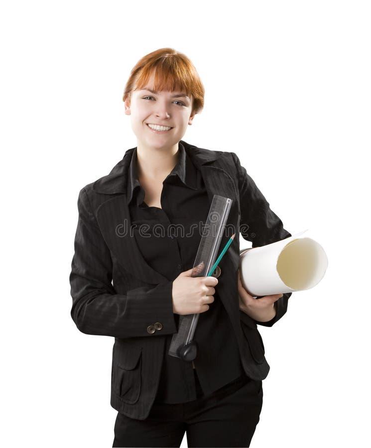 Mujer del ingeniero con las herramientas en manos imagenes de archivo