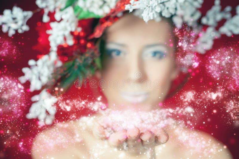 Mujer del invierno de la Navidad con el peinado y el maquillaje, hada mágica del árbol foto de archivo