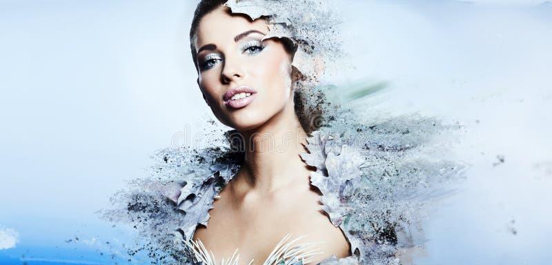 Mujer del invierno en un vestido de la reina de la nieve fotografía de archivo