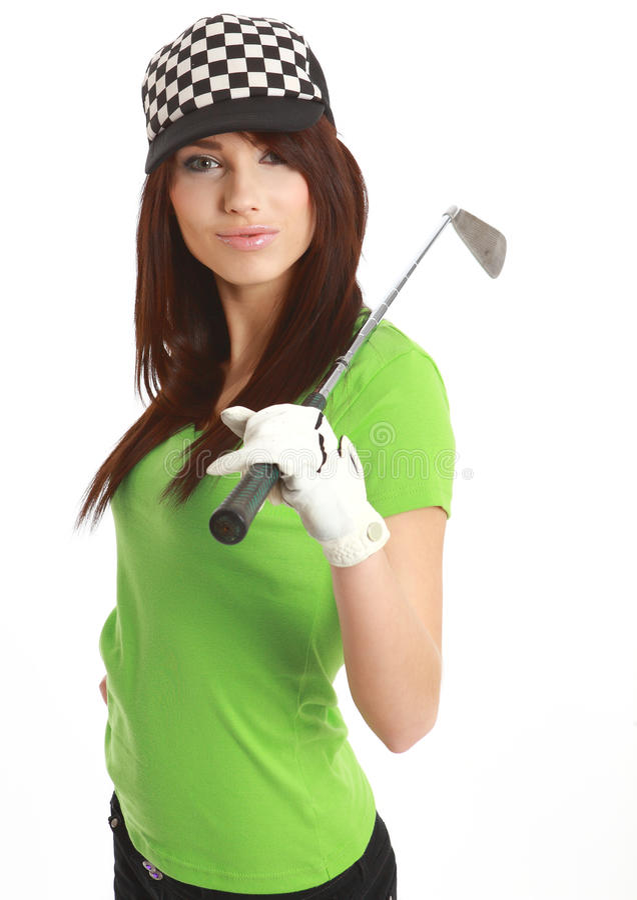 Mujer del jugador de golf. fotos de archivo libres de regalías