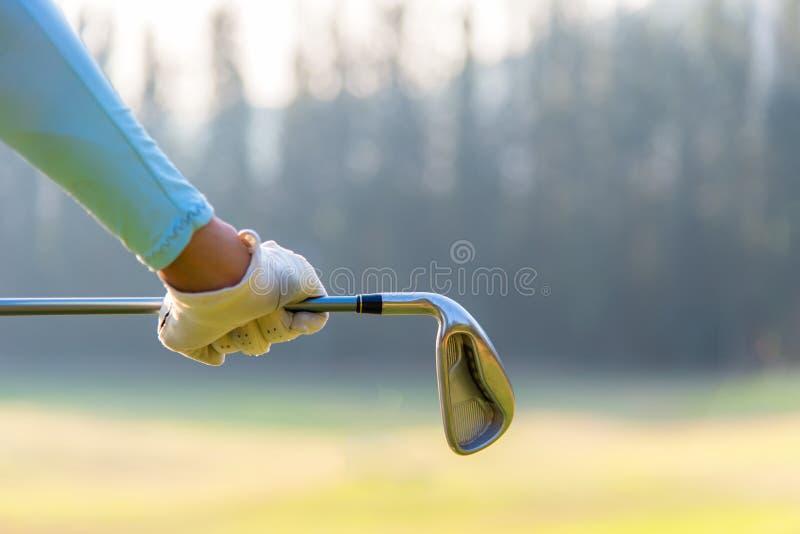 Mujer del jugador de golf que detiene a un club de golf en campo de golf imagen de archivo