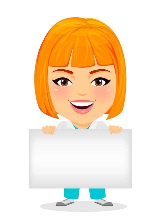 Mujer Del Médico Con La Muestra En Blanco Personaje De Dibujos ...