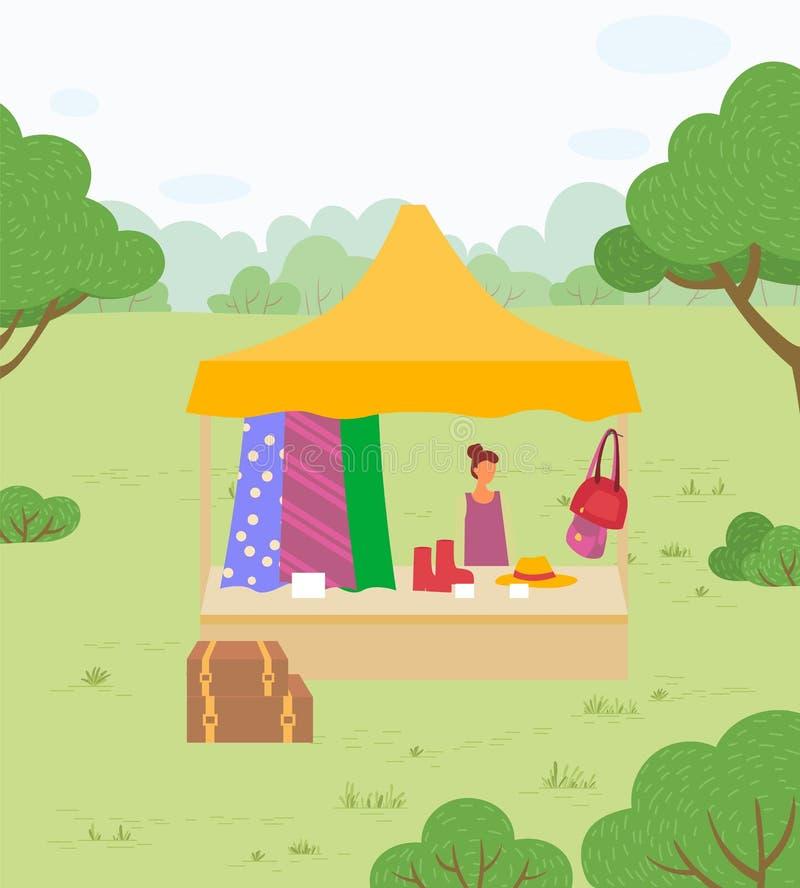Mujer del mercado de verano con ropa vendiendo al aire libre libre illustration