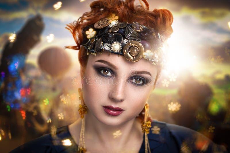 Mujer del mundo de fantasía imagenes de archivo
