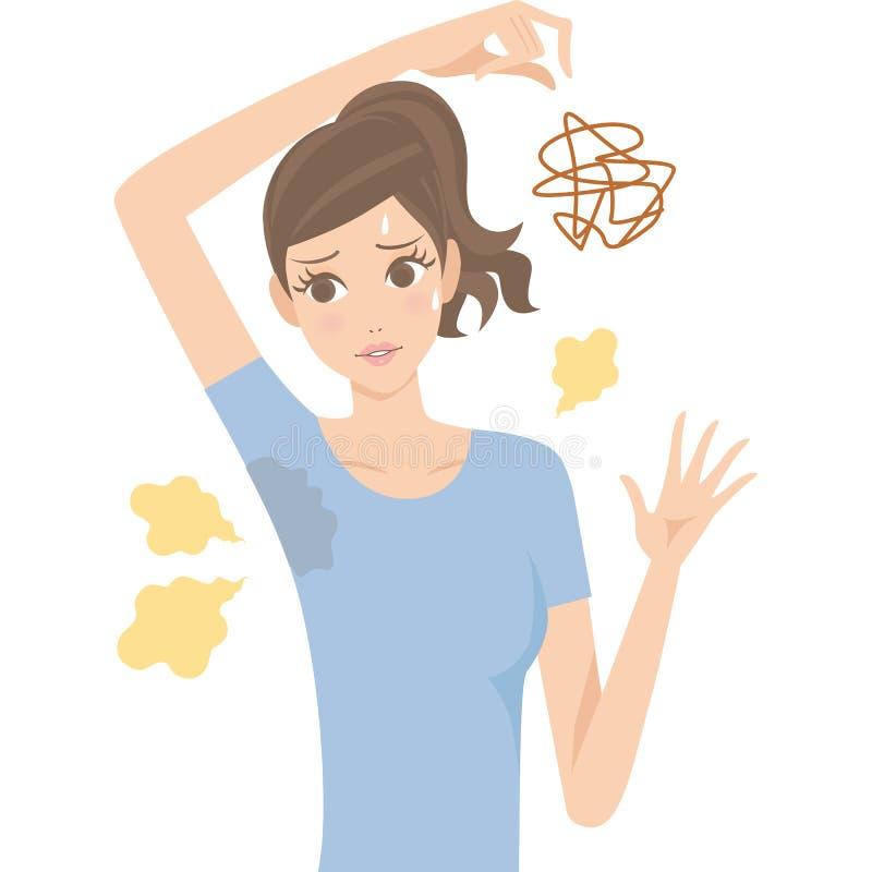 Mujer del olor corporal stock de ilustración