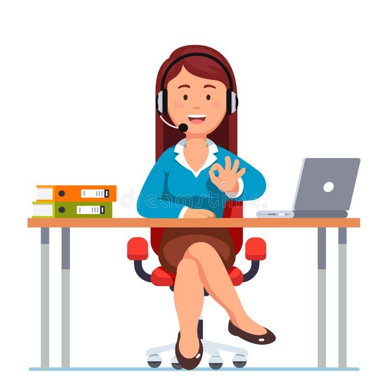 Mujer del operador del centro de atención telefónica que muestra gesto aceptable libre illustration