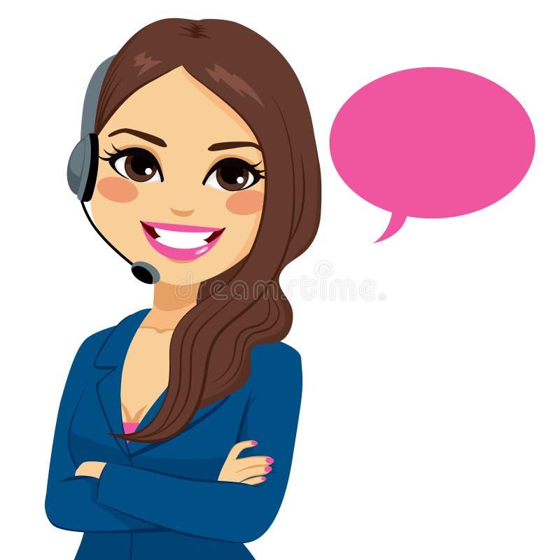 Mujer del operador del teléfono del centro de atención telefónica stock de ilustración