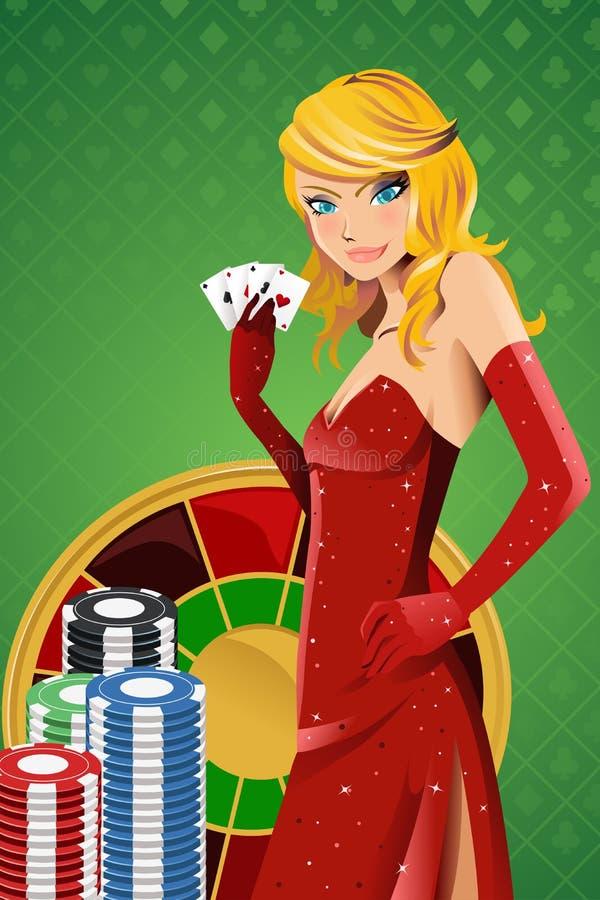 Mujer del póker ilustración del vector