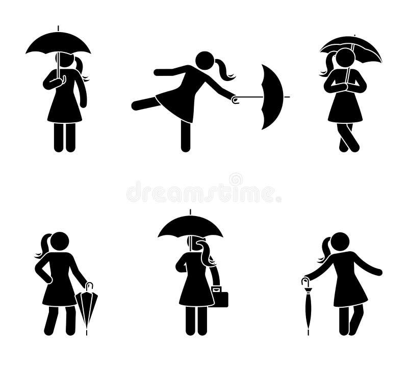Mujer del palillo con el sistema del icono del paraguas Silueta negra de la hembra con el accesorio resistente de la lluvia en bl libre illustration