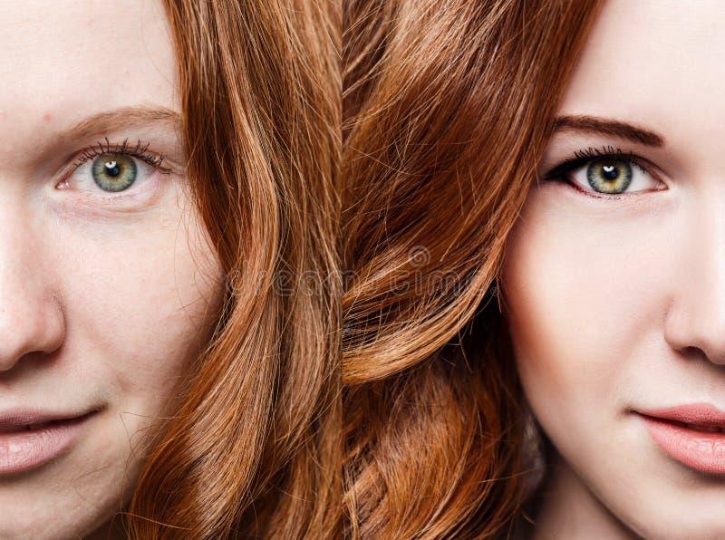 Mujer del pelirrojo antes y después del maquillaje foto de archivo libre de regalías