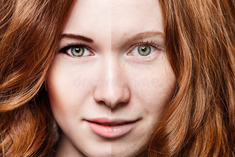 Mujer del pelirrojo antes y después del maquillaje fotografía de archivo