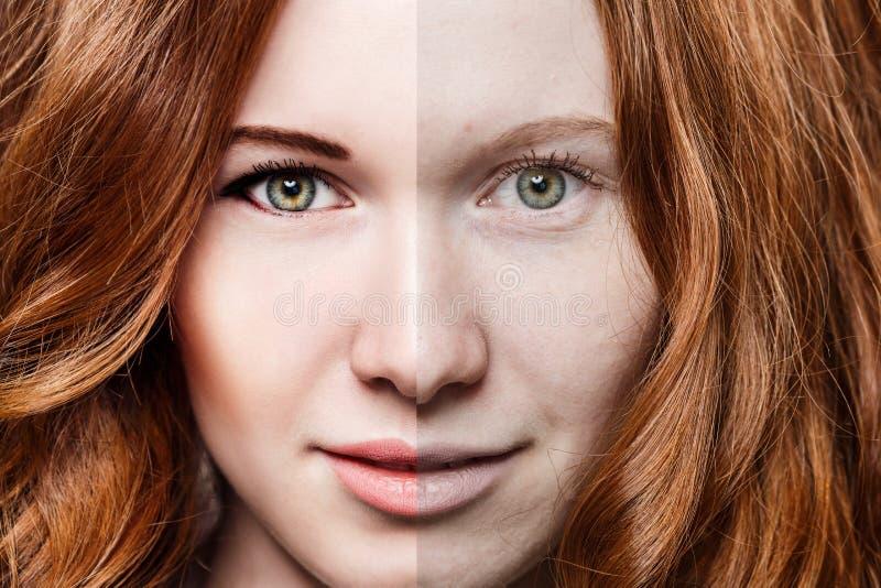 Mujer del pelirrojo antes y después del maquillaje fotografía de archivo libre de regalías