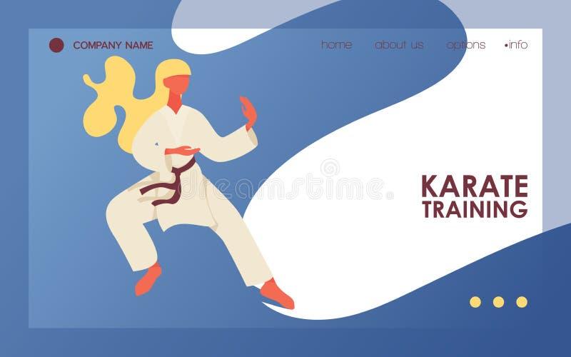 Mujer del pelo rubio en la situación del kimono en la posición de entrenamiento de la lucha del karate Página del aterrizaje del  stock de ilustración