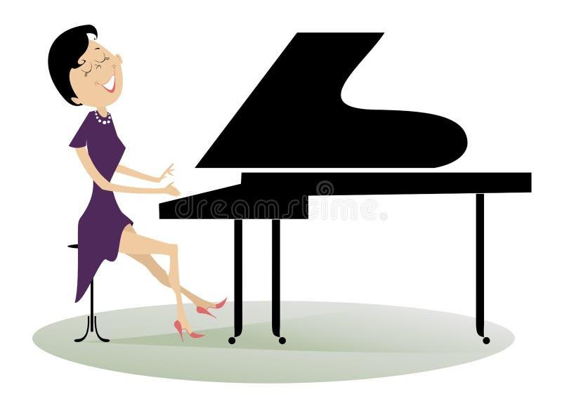 Mujer del pianista ilustración del vector