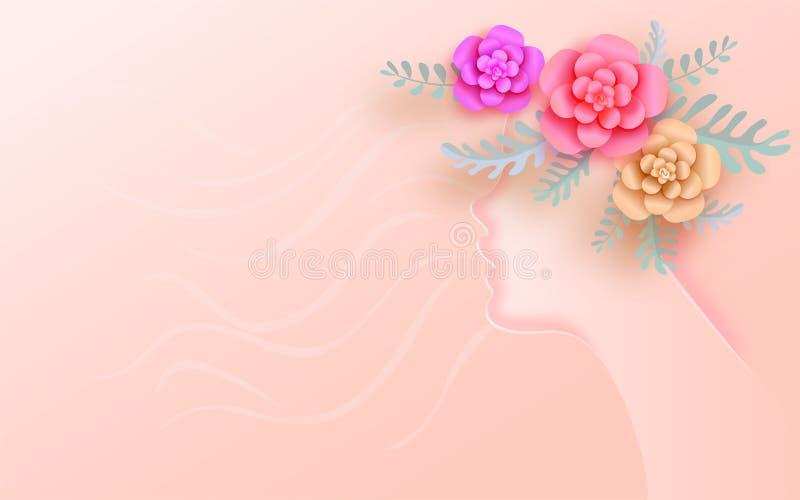 Mujer del resorte Muchacha del verano de la belleza con el wre colorido de las flores de papel stock de ilustración