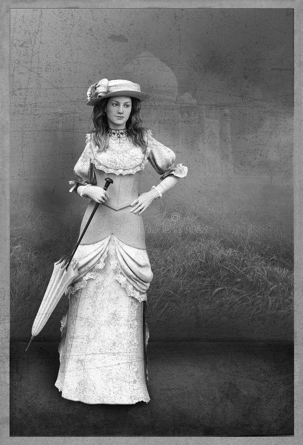 Mujer del retrato del estudio de la fotografía del vintage ilustración del vector