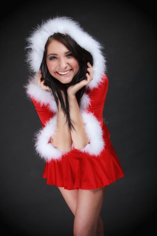 Download Mujer Del Retrato Que Lleva El Traje De Papá Noel En Negro Imagen de archivo - Imagen de persona, retrato: 44855159
