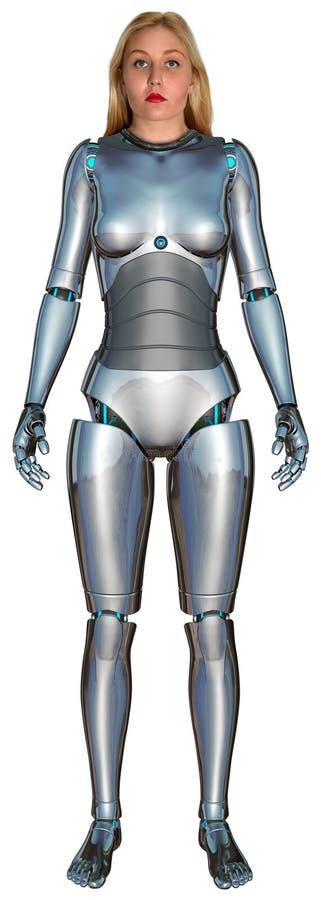 Mujer del robot de Anroid del Cyborg aislada stock de ilustración