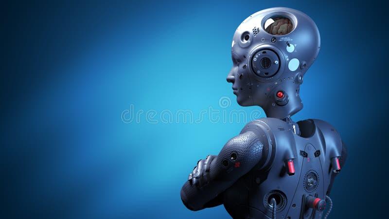 Mujer del robot, mujer de la ciencia ficci?n stock de ilustración