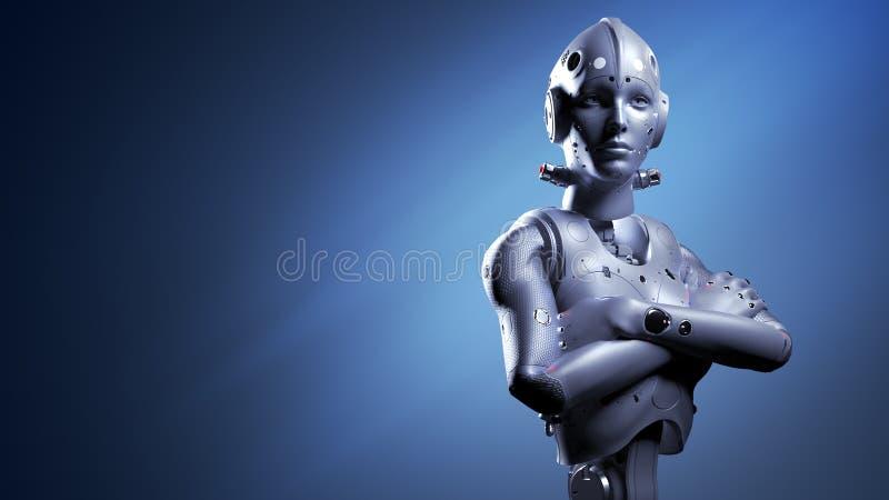 Mujer del robot, inteligencia artificial de la mujer de la ciencia ficci?n ilustración del vector