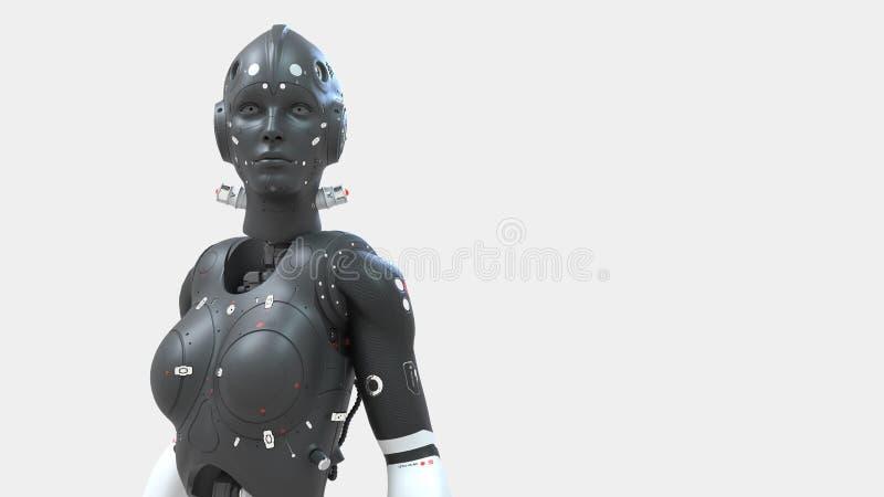 Mujer del robot, mundo digital de la mujer de la ciencia ficci?n del futuro de redes neuronales y el artificial libre illustration