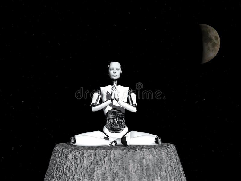 Mujer del robot que medita en espacio. libre illustration