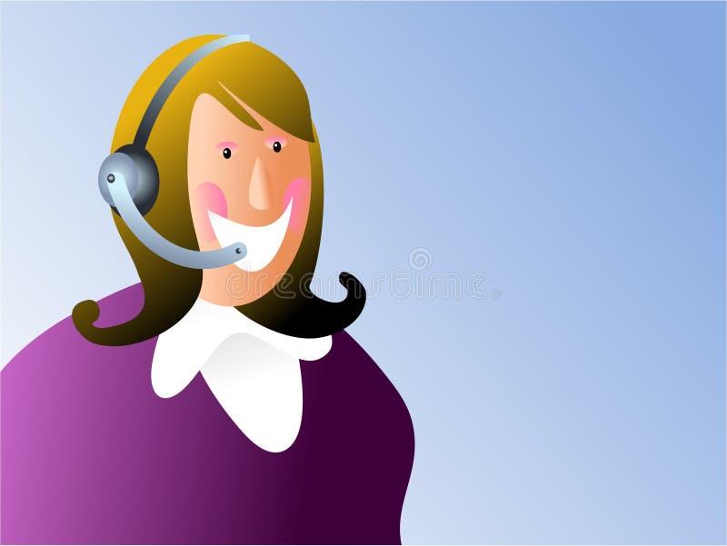 Mujer del servicio de atención al cliente stock de ilustración