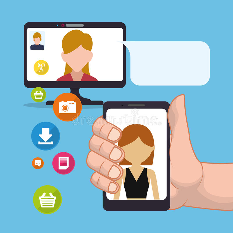 mujer del smartphone del control de la mano que envía medios del social del correo electrónico stock de ilustración
