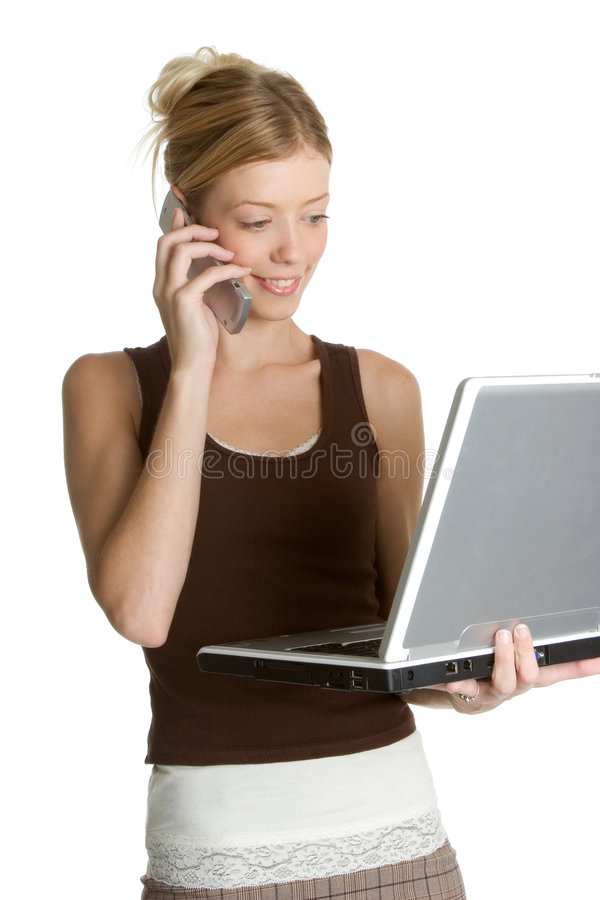 Mujer del teléfono de la computadora portátil fotografía de archivo libre de regalías
