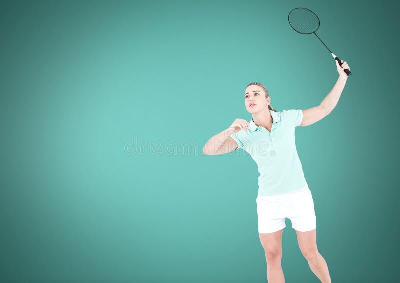Mujer del tenis con el fondo verde en blanco fotos de archivo libres de regalías