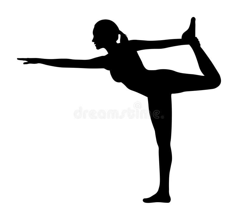 Mujer del vector que hace la silueta del arco de la situación de la yoga libre illustration