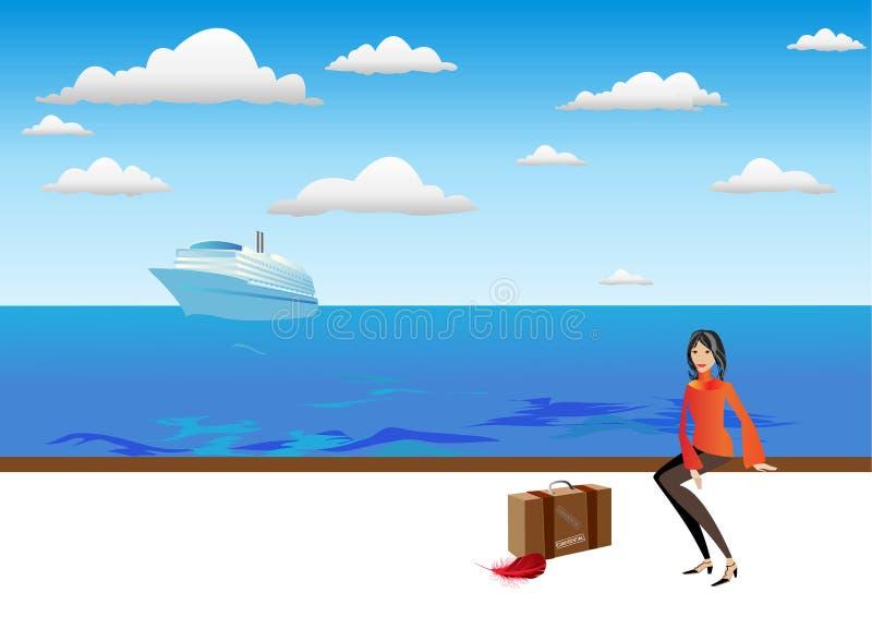 Mujer del viajero ilustración del vector