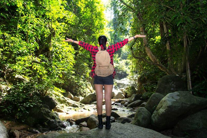 Mujer del viajero que siente el revestimiento victorioso en la cascada fotos de archivo