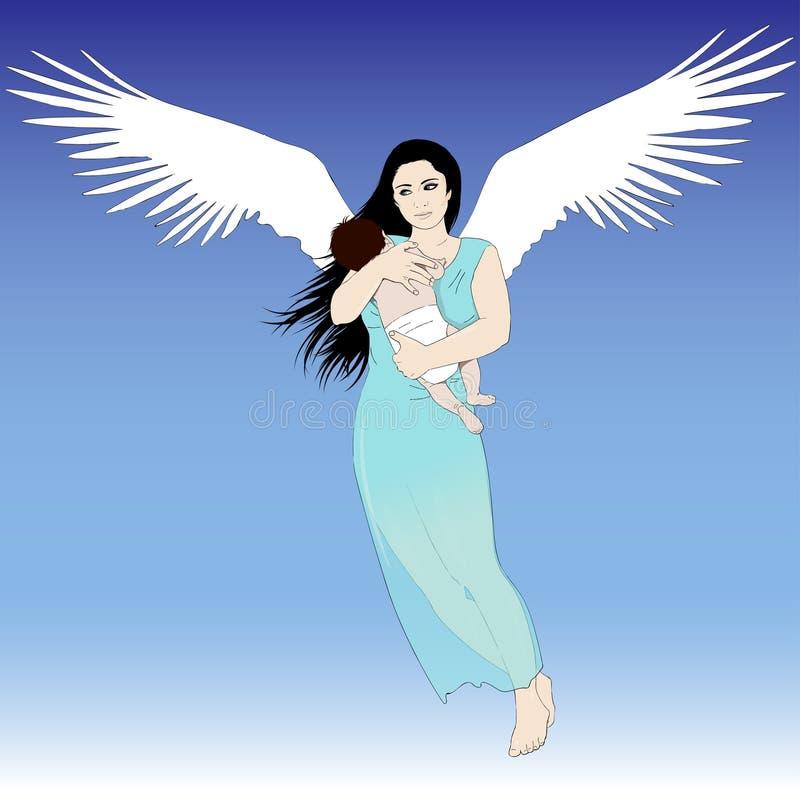 Download Mujer Del Vuelo Con El Niño Ilustración del Vector - Ilustración de madre, niño: 44851209