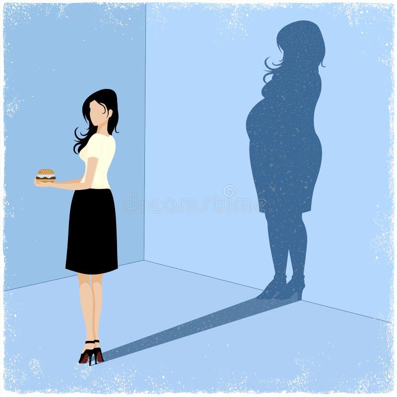 Mujer delgada que echa la sombra gorda de la mujer stock de ilustración