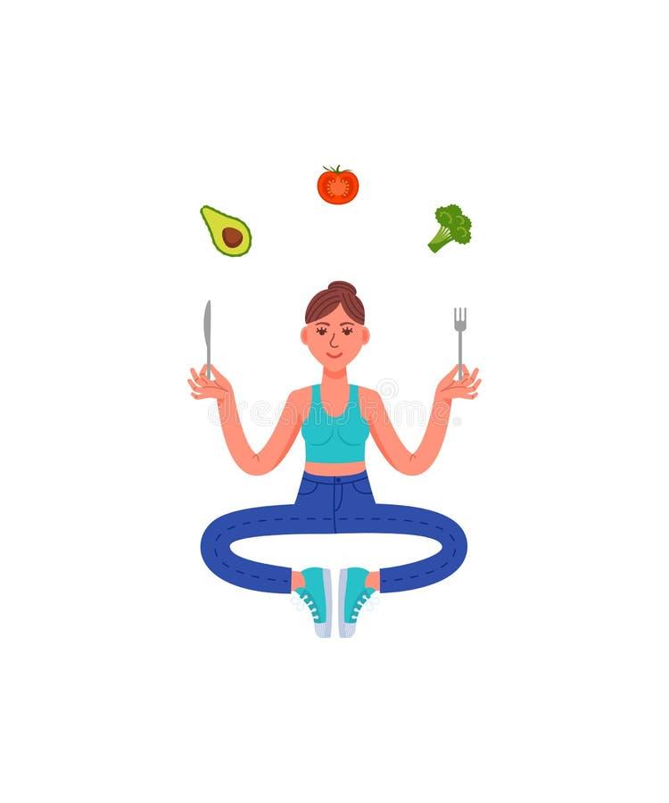 Mujer delgada que se sienta en la meditación con una bifurcación y un cuchillo en sus manos y comida sana Aguacate, bróculi, toma libre illustration