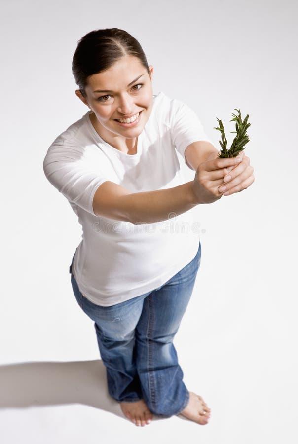 Mujer descalza que sostiene las hierbas frescas imagenes de archivo