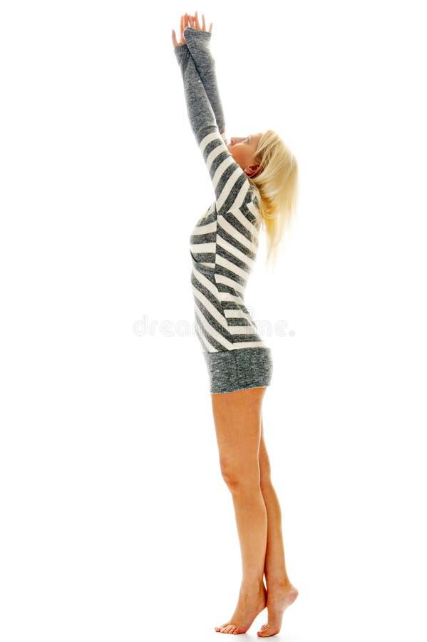 Mujer Descalzo En Vestido Sexual Foto de archivo