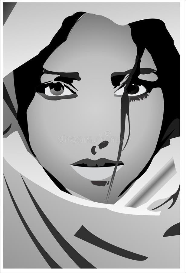 Mujer desesperada en blanco y negro ilustración del vector